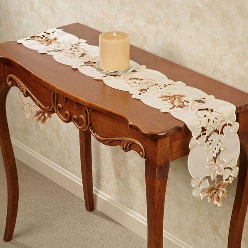 Bronze Leaves Long Table Runner Cream 8 x 60