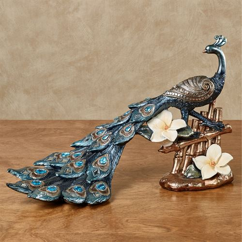 Poised Peacock Jeweled Table Sculpture Blue
