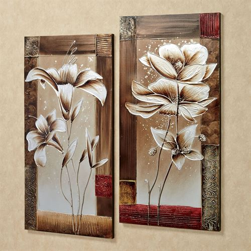 Petals of spring canvas wall art set multi earth set of two