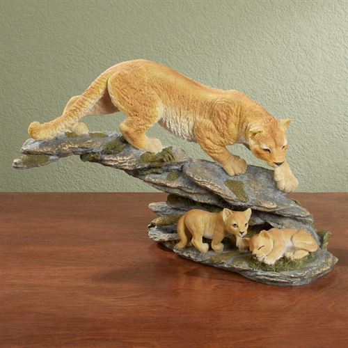 Lion Family Table Sculpture Natural