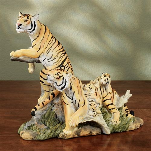 Tiger Family Table Sculpture Natural
