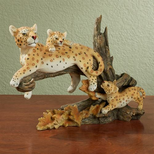 Leopard Family Table Sculpture Natural