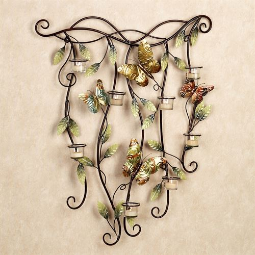Fluttering Beauties Candelabra Wall Art Multi Earth