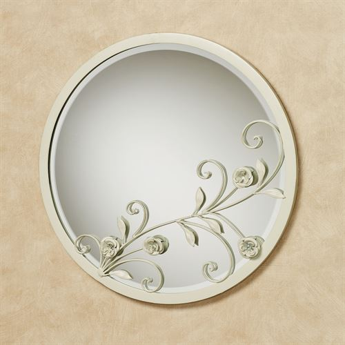 Roses of Love Round Wall Mirror Creamy Gold