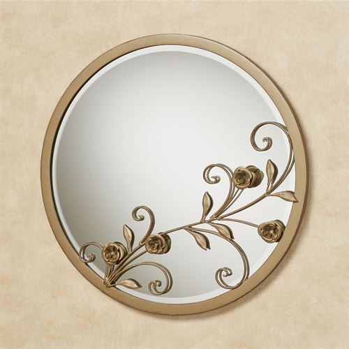 Roses of Love Round Wall Mirror Satin Gold