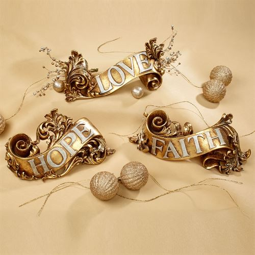 Inspirational Word Art Accents Antique Gold Set of Three