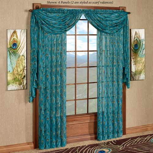 King Peacock Sheer Curtain Panel Sapphire 59 x 84