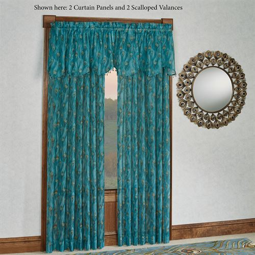 King Peacock Sheer Scalloped Valance Sapphire 59 x 21
