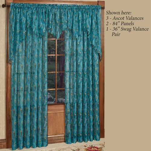 King Peacock Sheer Ascot Valance Sapphire 27 x 20