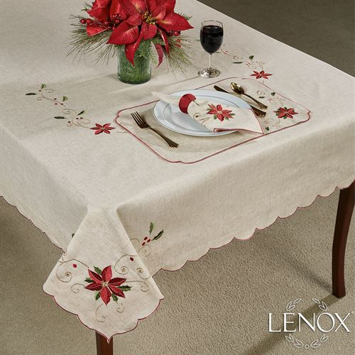 French Perle Poinsettia Tablecloth Linen