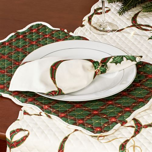 Holiday Nouveau Quilted Placemats Light Cream Set of Four