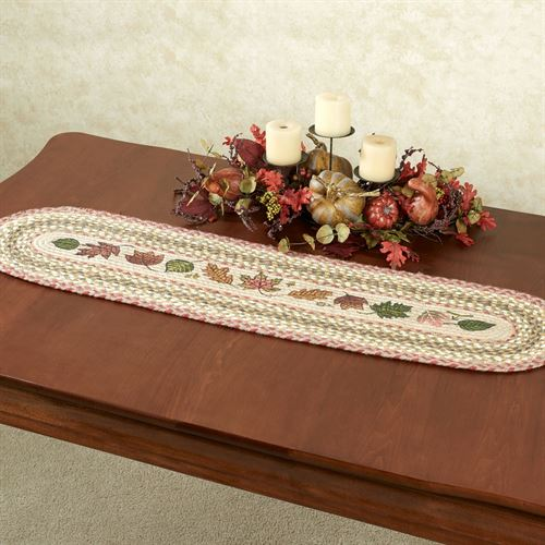 Autumn Leaves Braided Oval Table Runner Multi Earth