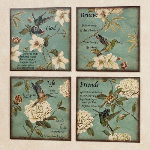Hummingbird Wall Plaque Set  Set of Four