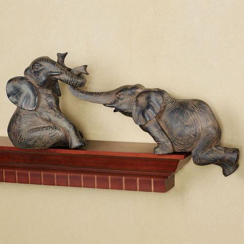 Helpful Elephant Shelf Sitters Bronze Set of Two