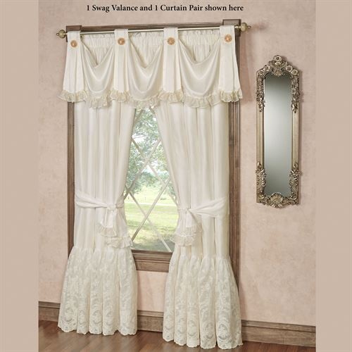 Cameo Lace Swag Valance Pearl 72 x 20
