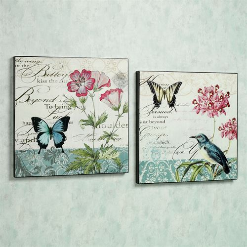 Wings and Blooms Wall Art Set Multi Pastel Set of Two