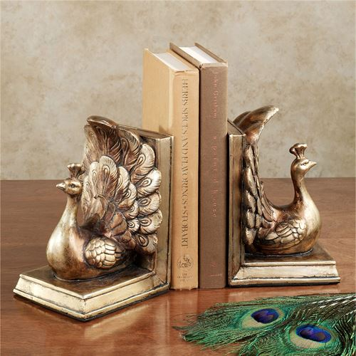 Regal Peacock Bookend Pair Antique Gold Pair