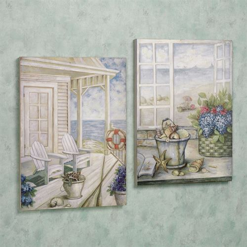 Coastal Retreat Wall Art Plaque Set Multi Cool Set of Two