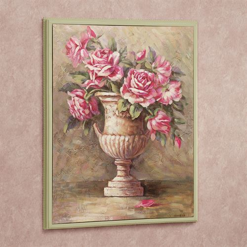 Urn of Roses Framed Canvas Wall Art Multi Pastel