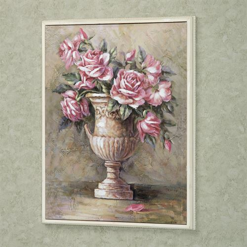 Urn of Roses Framed Canvas Wall Art Off White