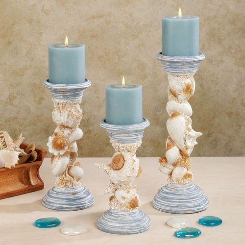 Seaside Trophy Candleholder Set Powder Blue Set of Three