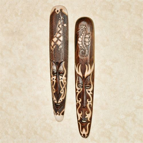 Natures Majesty Tribal Mask Wall Art Brown Set of Two