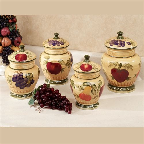 European Fruit Canister Set Gold Set of Four