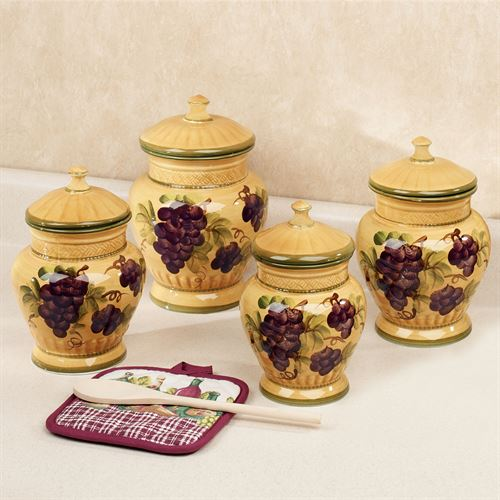 Grapes Canister Set Gold Set of Four