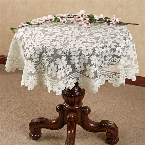 Dogwood Lace Round Table Topper, Round Lace Table Toppers