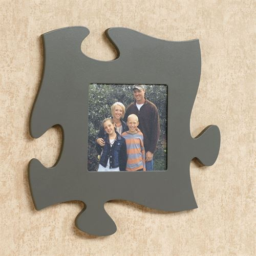 Dark Gray Photo Frame Puzzle Piece Wall Art