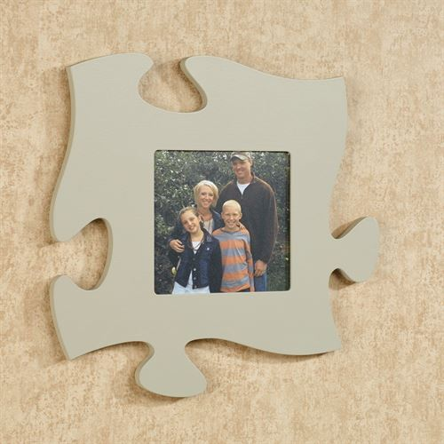 Puzzle Piece Photo Frame Gray