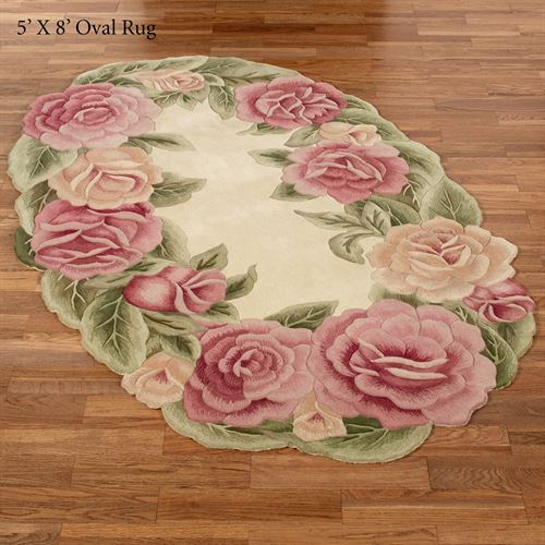 Rose Nouveau Sculpted Floral Oval Rugs
