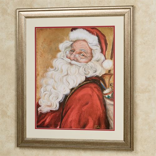 Smiling Santa Framed Wall Art Red