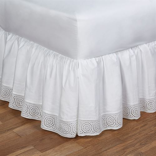 Cutwork Gathered Bedskirt White