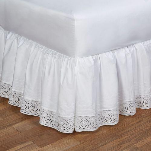 Cutwork Gathered Bedskirt White