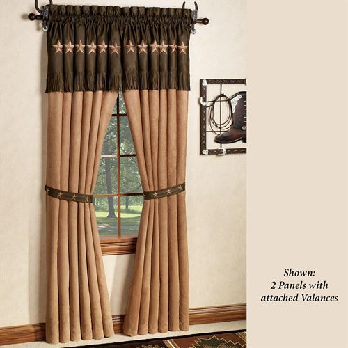 Laredo Curtain Panel with Valance Chocolate 60 x 84