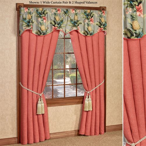 Polly Island Wide Tailored Curtain Pair Dark Coral 100 x 84
