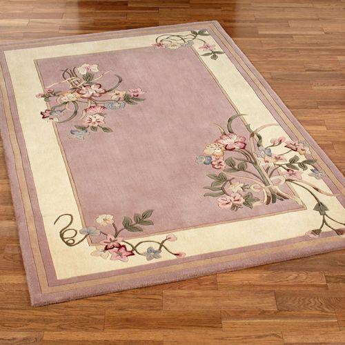 Floral Bouquet Rectangle Rug Dusty Mauve
