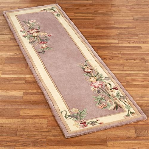 Floral Bouquet Rug Runner Dusty Mauve