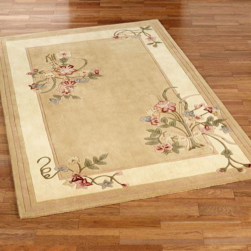 Floral Bouquet Rectangle Rug Light Gold