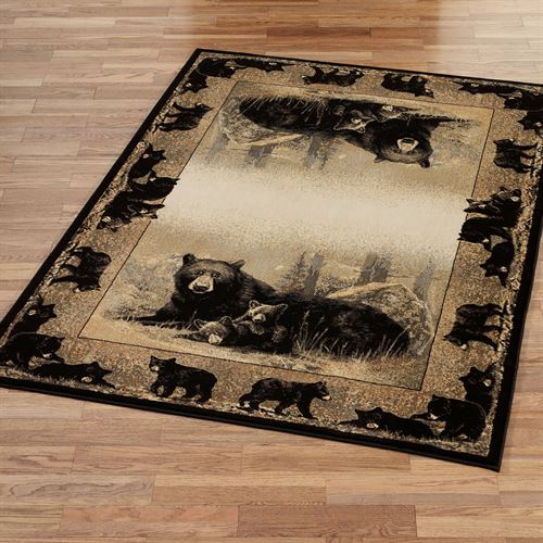Time to Play Rectangle Bear Rug Natural