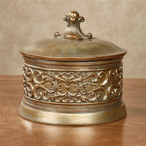 Laryssa Decorative Covered Bowl Champagne Gold
