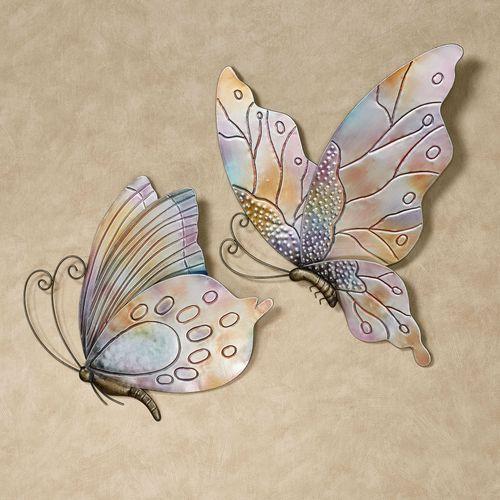Butterflies in Flight Wall Art Multi Pastel Set of Two