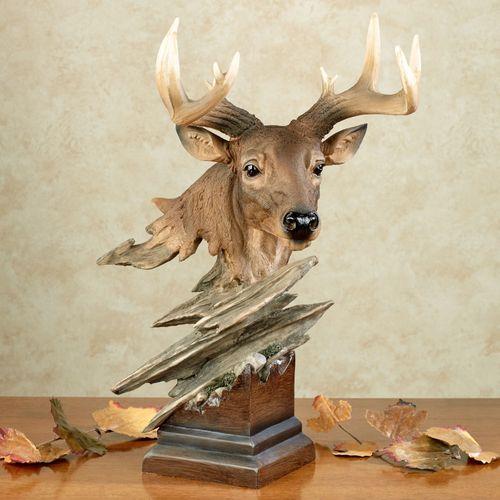Rustic King Deer Sculpture Multi Earth