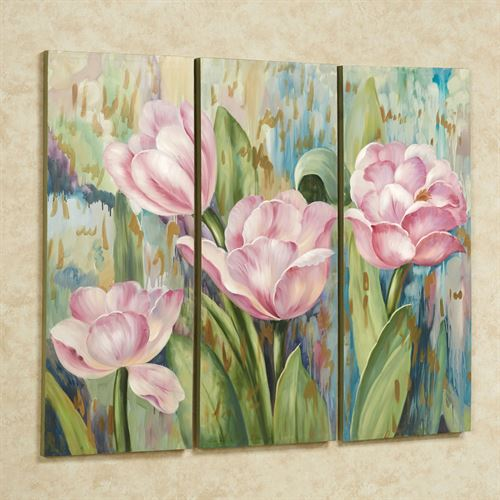Jasmiene Floral Triptych Canvases Multi Pastel Set of Three