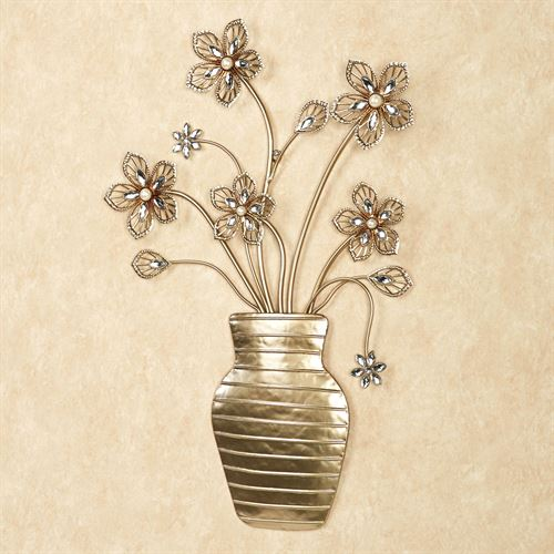 Rosianna Floral Vase Wall Art Champagne Gold