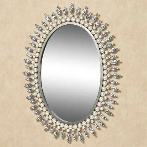 Giselle Oval Wall Mirror Platinum