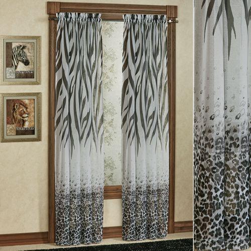 Kenya Safari Semi-Sheer Curtain Panel Black