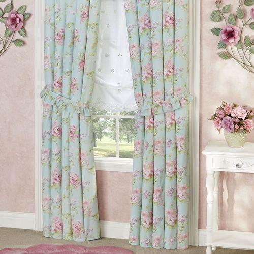 Cottage Rose Tailored Curtain Pair Aqua Mist