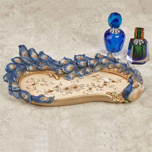 Luxe Plumes Peacock Vanity Tray Blue